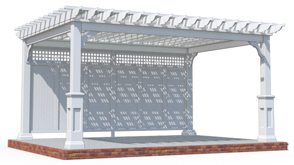 1TRADITIONAL VINYL, POST BASES, LATTICE ROOF, PRIVACY WALL, EZS HADE